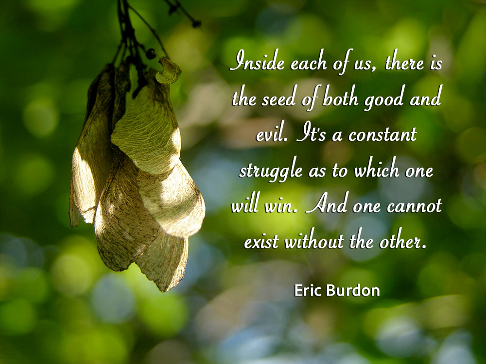 Inside each of us, there is the seed of both good and evil. It's a constant struggle as to which one will win. And one cannot exist without the other. ~Eric Burdon