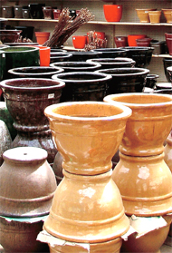 An array of glazed clay pot from Malaysia